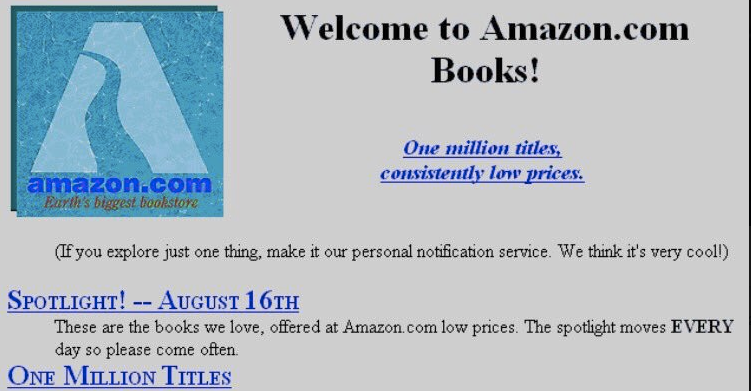 Amazon's first web page